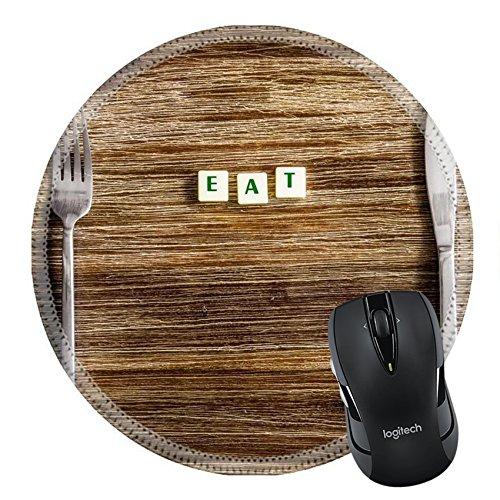 MSD Naturkautschuk Mousepad rund Mauspad 24171013und Gabel Set auf einem Holz Vintage Tisch mit Schild Essen