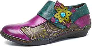Socofy Oxford Leather Shoes,Women's Handmade Printing Splicing Plant Pattern Hook Loop Flat Vintage Shoes