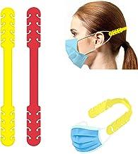 TBOC Verstelbare Maskerverlengingshaak - [Pack 2 Eenheden] Extender Haken [Geel + Rood] Siliconen Hook met Grepen Anti-Aan...