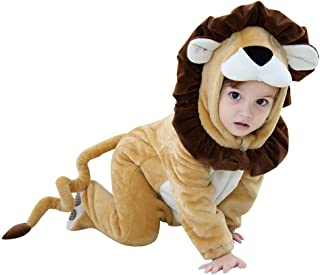 Voberry Unisex Baby Flannel Romper Lion Animal Costumes Infant Hooded Pajamas Jumpsuit Halloween Outfits Cosplay King
