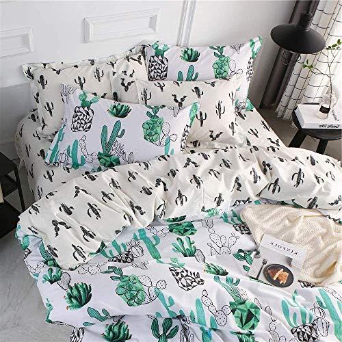 FenDie Plant Cactus Bedding Bettwäsche-Set für Doppelbett, 100 {5f22e22de6233b13dbd82989d75e78e3b0e61a4534bc0bf7a2cdb519786d449f} Baumwolle, 1 Bettbezug, 2 Kissenbezüge, wendbar, blassgelb, Kakteen