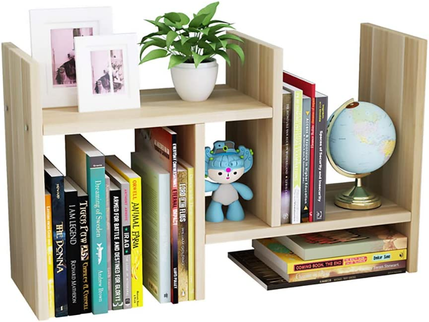 GKanMore Desktop Bookshelf Adjustable Tabletop Storage Rack Organizer Countertop Bookcase Wood Display Stand Shelf for Home Office (Style A)