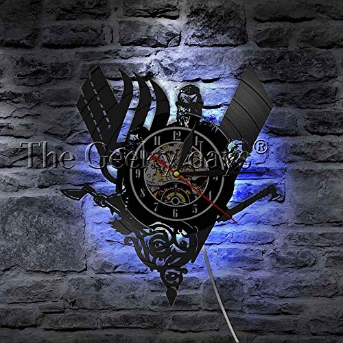FDGFDG Ancient Norse Viking Vintage Design Illuminated Wall Clock  Battle Axe Home Decor Wall Art LED Lamp