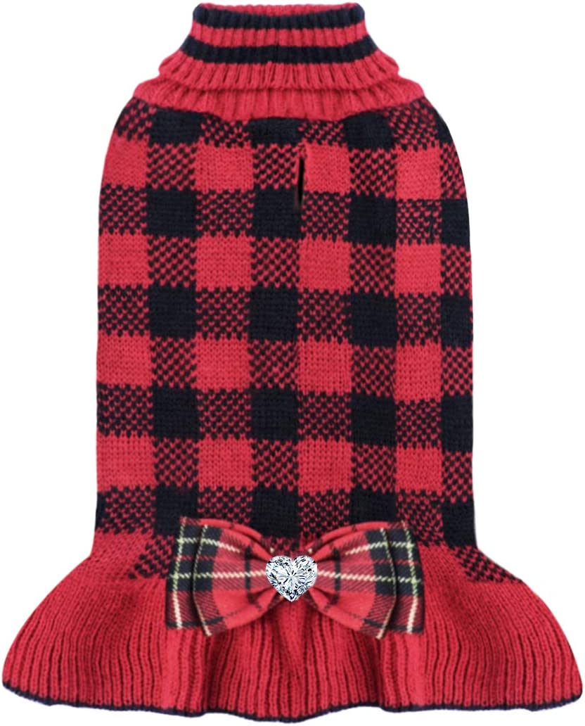 KYEESE High order Dog Sweater Dress Some reservation with Hole Leash Checkered Sweaters