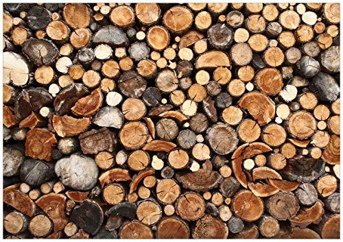 Wallario Wand-Bild 70 x 100 cm | Motiv: Dunkler Holzstapel rund | Direktdruck auf 5mm Starke Hartschaumplatte | leichtes Material | günstig
