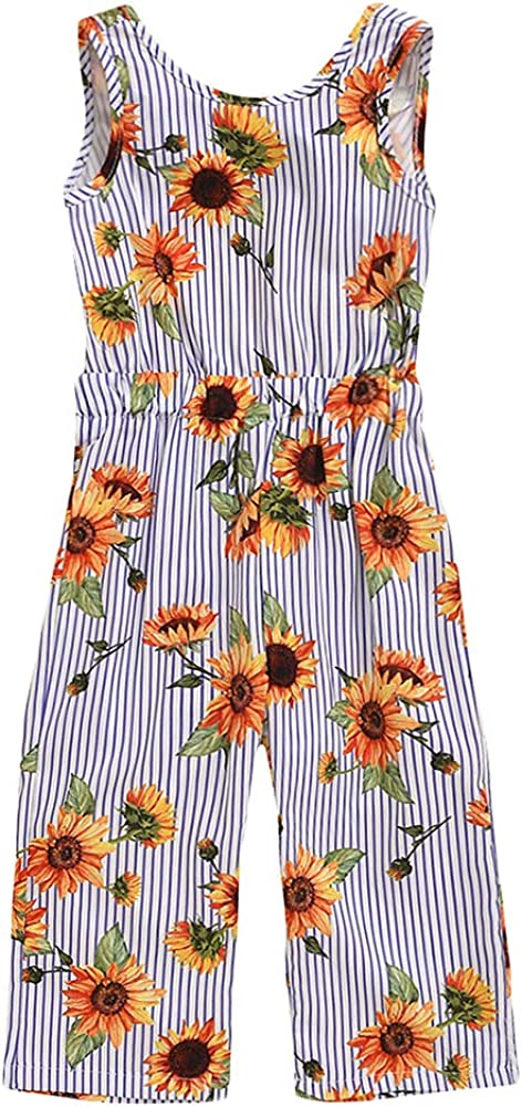 BIUXIAOBAI Sale price Animer and price revision Girls' Sunflower Sleeveless Pants Summer Str Jumpsuit