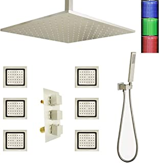 AYIVG LED Thermostatic 16 Inch Ceiling Rainfall Shower System With 6 PCS Body Jets Mixer Set Brushed Nickel