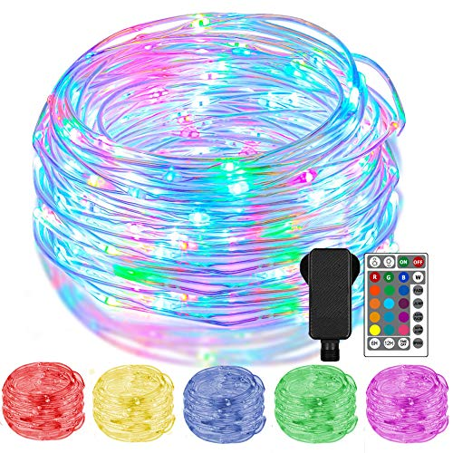 16 Colour Changing Outdoor Fairy Lights Plug in, 20m 200 LED Rope Lights Waterproof IP68, Multicolour String Lights with Remote Timer for Indoor Bedroom Christmas Tree Garden Patio Fence Wedding Decor