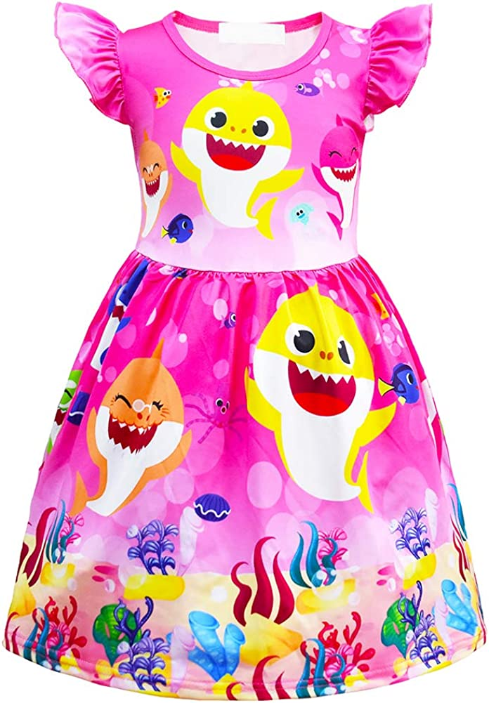 AOVCLKID Toddler Girls Baby Princess Pajamas Shark Cartoon Print Nightgown Dress