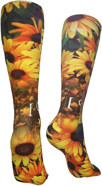 Sunflowers Women Premium High Socks, Stocking High Leg Warmer Sockings Crew Sock For Daily And Work