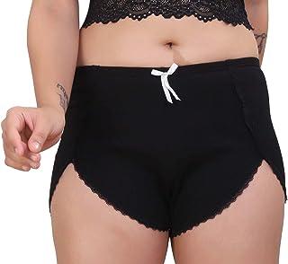 PLUMBURY® Women's/Girl's Cotton Shorts with Lace Trim Cycling Shorts/Safety Shorts/Under Skirt Shorts,Black