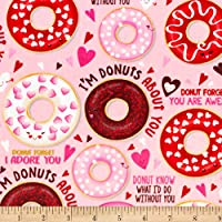 Shannon Fabrics Shannon Studio Digital Minky Cuddle Love Donuts Pink Fabric by The Yard