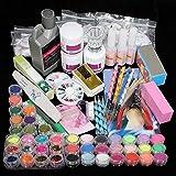 Pannow Manucure Kit Ongles Conseils Faux Ongles Nail Art Acrylique Poudre Paillettes Décoration Set