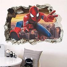 Spiderman Stickers muraux pour chambre d'enfant Effet 3D Garçon Cadeau poster mural