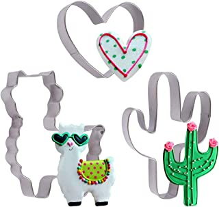 Llama Cactus Heart Shaped Cookie Cutters Set - 3 Pieces 4in Large Stainless Steel Fondant Molds Cutters for Making Muffins, Biscuits, Sandwiches, Etc.