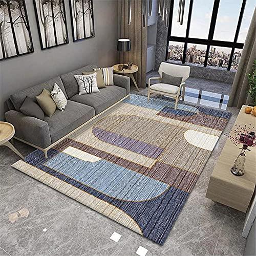 alfonbras de dormitorios,Alfombra Azul Claro, patrón geométrico Aislamiento de Sonido cómodo Alfombra antiestática, Alfombra Entrada -Azul Claro_200x230cm