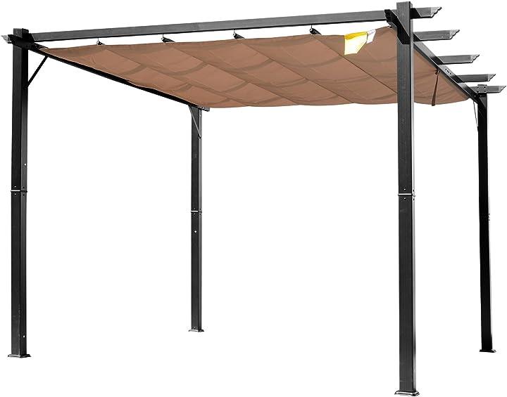 Gazebo pergola da giardino 3x4 telo scorrevole poliestere impermeabile struttura in alluminio outsunny IT84C-055BK0631