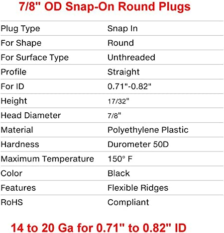 14-20 Ga - 0.71 to 0.82 ID Fencing Post Sliding Inserts Pack of 10 by SBD - Furniture Chair//Leg Pipe Tube Cover Insert End Caps for Fitness Eqpt 7//8 Round Snap-On Plastic Tubing Plug,