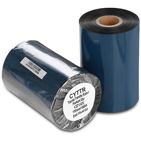"CYTTR Thermal Transfer Ribbon - Premium Resin-Enhanced Wax Printer Ribbon 1inch core Ink Out - 1 Roll (4.33"" x 1476') 110mm450m for Zebra ZT410,ZT420,ZM400,Sato,Datamax,Tsc,Tec, Printer"
