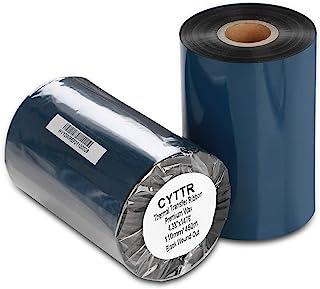 "CYTTR Thermal Transfer Ribbon - Premium Resin-Enhanced Wax Printer Ribbon 1inch core Ink Out - 1 Roll (4.33"" x 1476') 110m..."