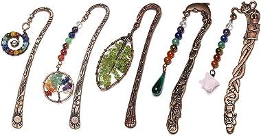JOVIVI 5pcs Antique Copper Metal Bookmark Beading Bookmarks with Handmade 7 Chakra Healing Crystals Tree of Life Tumbled Gems