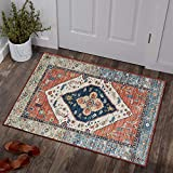 Lahome Collection Traditional Area Rug - Non-Slip Distressed Vintage Persian Oriental Area Rug Accent Throw Low Pile Rugs Floor Carpet for Door Mat Entryway Bedrooms Decor (2' X 3', Persian Formal)