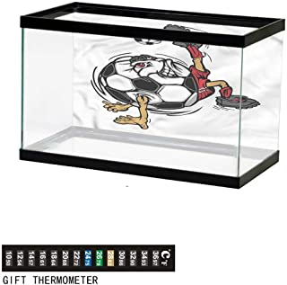 Suchashome Fish Tank Backdrop Sports,Rugby Player in Action,Aquarium Background, Thermometer Sticker