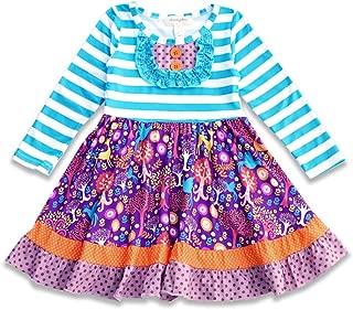 Boutique Blue Stripe Giraffe Girls Dress