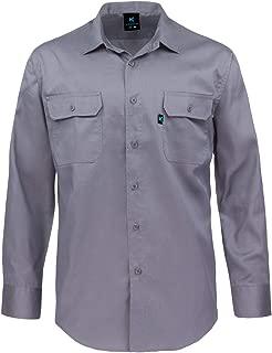 Kolossus Men's Lightweight Cotton Blend Long Sleeve Work Shirt with Pockets