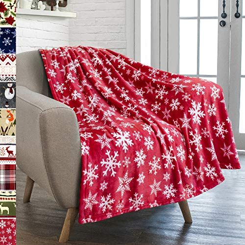 PAVILIA Christmas Throw Blanket | Red Snowflake Christmas Fleece Blanket | Soft, Plush, Warm Winter Cabin Throw, 50x60 (Red/White Snowflake)
