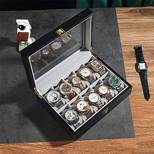 Caja de Madera para Reloj, Organizador de Caja de joyería con 10 Ranuras para Relojes, Vitrina de Reloj para Relojes Grandes con Cerradura, Negro