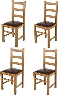 t m c s Tommychairs - Set 4 sillas Rustica para Cocina y Comedor, Estructura en Madera de Haya Color Roble y Asiento tapizado en Polipiel Color Cuero Oscuro