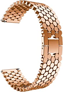 Festnight 22mm Stainless Steel Strap Wrist Replacement Watch Band Smart Watch Accessory Rose Gold