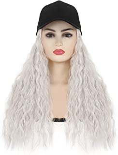 SARLA Hat Wigs For White Women Platinum Blonde Baseball Cap With Hair Attached Synthetic Curly Hairpieces Hair Extensions ...