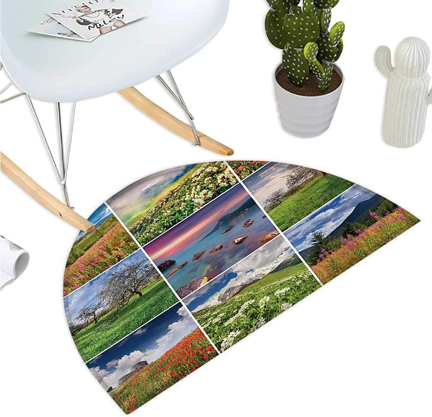 Summer Semicircle Doormat Collage with Nine Different Square Framed Freshening Summer Landscapes Rural Nature Entry Door Mat H 43.3  xD 64.9  Multicolor