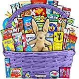 Purple Easter Basket for Kids and Adults 40ct - Already Filled Easter Gift Basket with Plush Easter Bunny, Chocolate, Candy, and Toys - Boys, Girls, Grandchildren, Young Children, Toddlers, Men, Women
