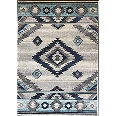 Expressions South West Native American Indian Area Rug Turquoise Purple Beige Blue Brown Design 1033 (5 Feet X 7 Feet)