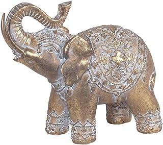 CAPRILO. Figura Decorativa de Resina Étnica Elefante Dorado. Adornos y Esculturas. Animales. Decoración Hogar. Regalos Ori...