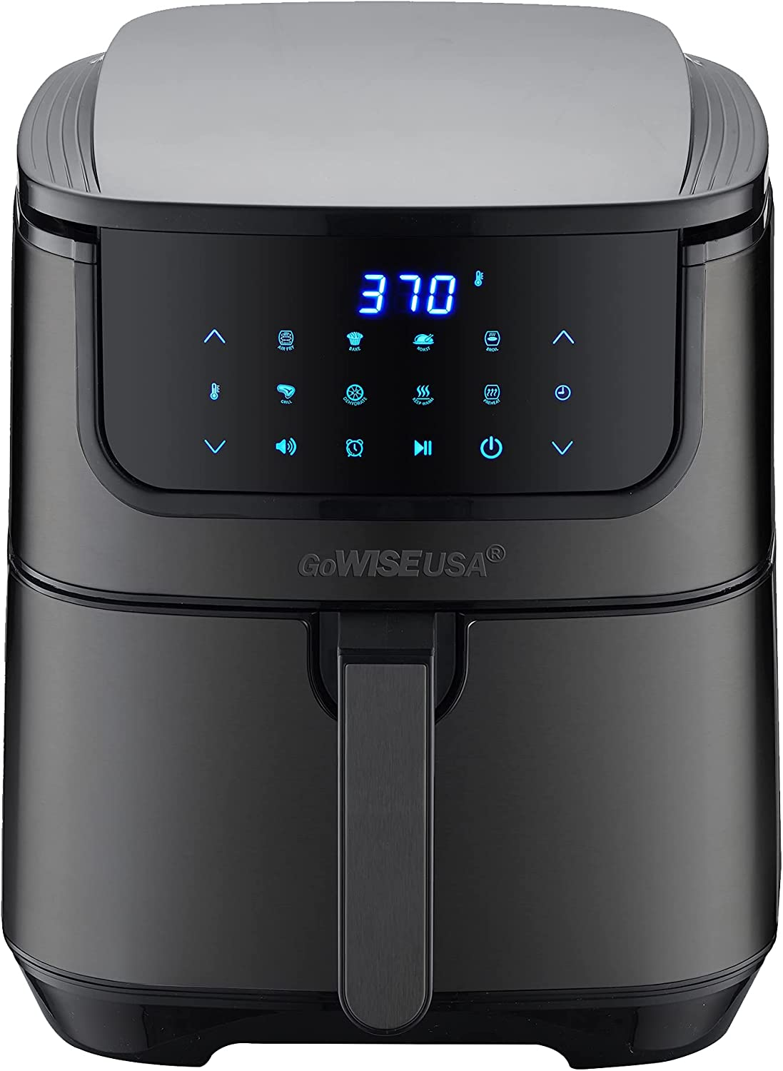GoWISE USA 7-Quart Air Fryer & Dehydrator MAX STEEL XL- with Touchscreen Display with Stackable Dehydrating Racks with Preheat & Mute Functions + 100 Recipes (Black Stainless Steel)