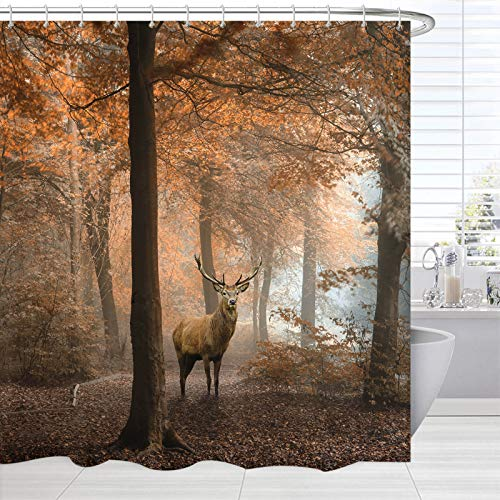 BROSHAN Fall Shower Curtains for Bathroom, Country Wildlife Animal Deer in Woodland Forest Bathroom Decor Set with Brown Shower Curtain Liner Washable , Autumn Waterproof Fabric Bath Curtain