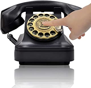 IRISVO Retro Rotary Landline Phone for Home, Vintage Rotary Dial Phone Old Fashion Telephone Corded Phone with Hands Free Function(Retro Black)