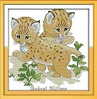 刺繡スターターキット刻印クロスステッチキット初心者DIY11CT用の2つのボブキャット簡単で面白いプレプリントパターンの刺繡16x20インチ