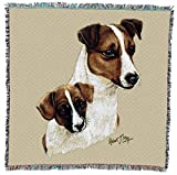 Pure Country Weavers Jack Russell Terrier with Puppy by Robert May Lap Square Blanket Throw Woven from Cotton - Made in The USA (54x54)