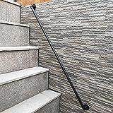 FS Pasamanos for escaleras Interiores y Exteriores, Soportes de barandillas de tubería de Hierro Industrial Negro, for jardín de escaleras, tamaños Opcionales(Size:200cm)