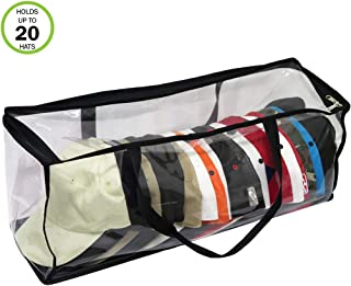 Evelots Sport Cap Bag-Extra Large-20 Hats-Trucker Style-Clear-Handles-Dust Proof