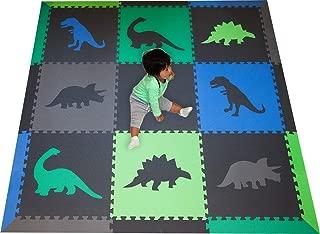SoftTiles Children's Foam Playmat - Jurassic Dinosaur Theme - Nontoxic Interlocking Floor Tiles for Toddler Playrooms/Baby Nursery - Size 6.5 x 6.5 ft.- Black, Blue, Green, Lime, and Gray SCDBGLG
