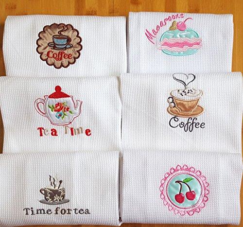 Generic Tasse Kaffee: 1Stück/lot 50x 70cm, Baumwolle Waffel Stickerei Dishtowel Küche Handtuch Reinigungstuch Geschirrtuch Ultra große PANO de Prato Baumwolle