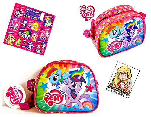 My little Pony 2 TLG Super Set - 1x kleine tas/schoudertas met glitter voorzijde (20 x 16 x 9 cm) + 1x 12 Equestria Girls sticker fans kindertas