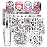Born Pretty 6Pcs Nail Art Stamping Plates Set Dreamcatcher Theme Cat Leaf Manicure Print Tool with 1Pc Jelly Stamper and Scraper