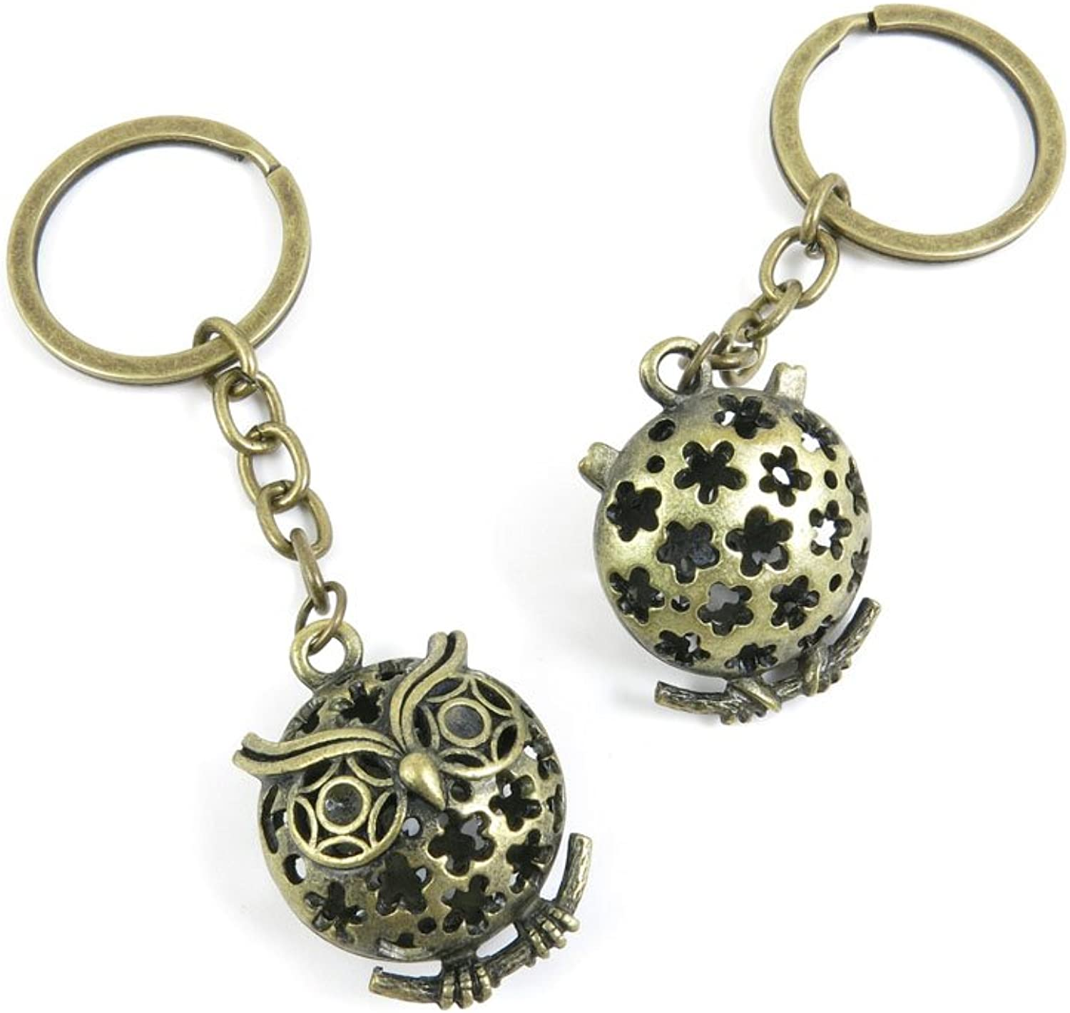 40 PCS Keyring Car Door Key Ring Tag Chain Keychain Wholesale Suppliers Charms Handmade D4UR2 Hollow Owl